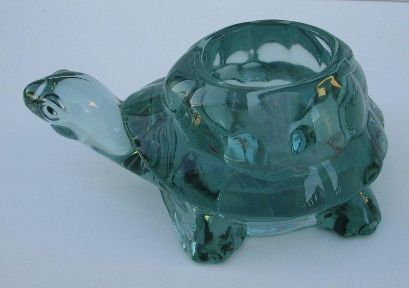 Avon Spanish Green Glass Turtle Candle Holder