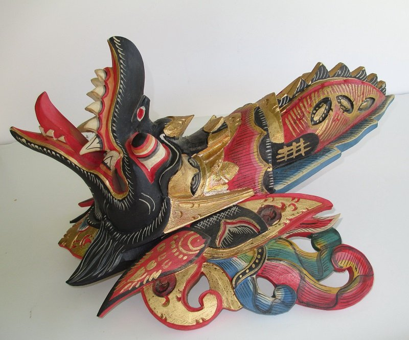 Garuda Mask, Carved Wood, 1950s Java Indonesia