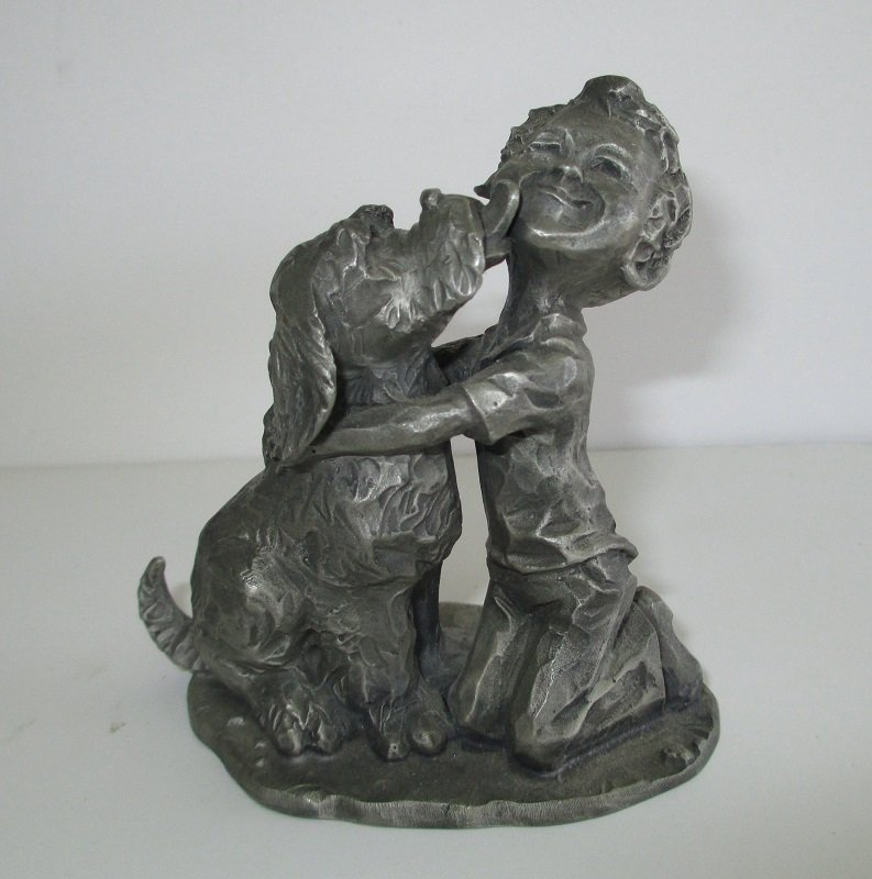 Hallmark Dog Kissing Boy Pewter Figurine, 1975