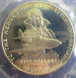 Battle of Britain, Marshall Islands, 5 Dollar Coin, 1990