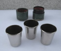 Set of 3 Metal Shot Glasses in Leather Case, 1940s Germany