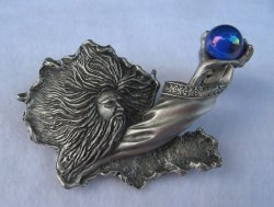 Wizard with Iridescent Orb Brooch Signed JJ, Pewter 3.5 inch