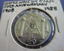 Masonic 50th Anniv Pendant Lodge 164 Seattle Washington