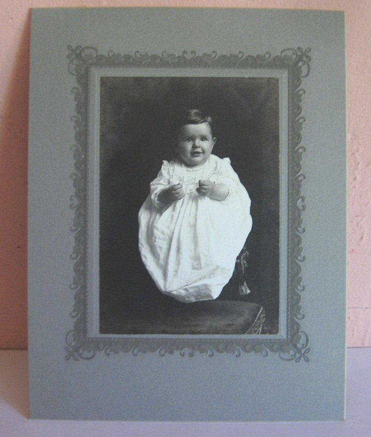 Baby in Christening Gown Antique Cabinet Photo, maybe Kansas