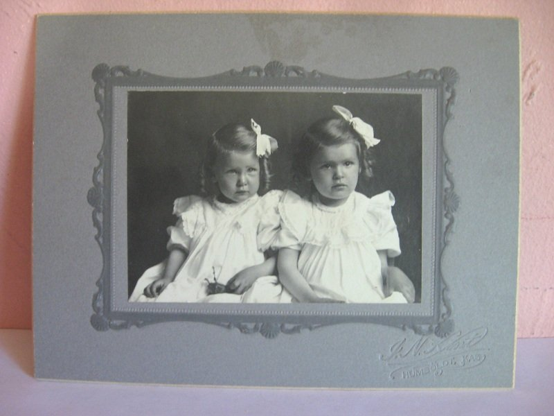 2 Girls, Sisters, Antique Cabinet Photo, Humboldt Kansas