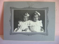 Antique Cabinet Photo of 2 girls, sisters, Humboldt Kansas