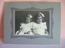 Antique Cabinet Photo of 2 girls, sisters, Humboldt Kansas