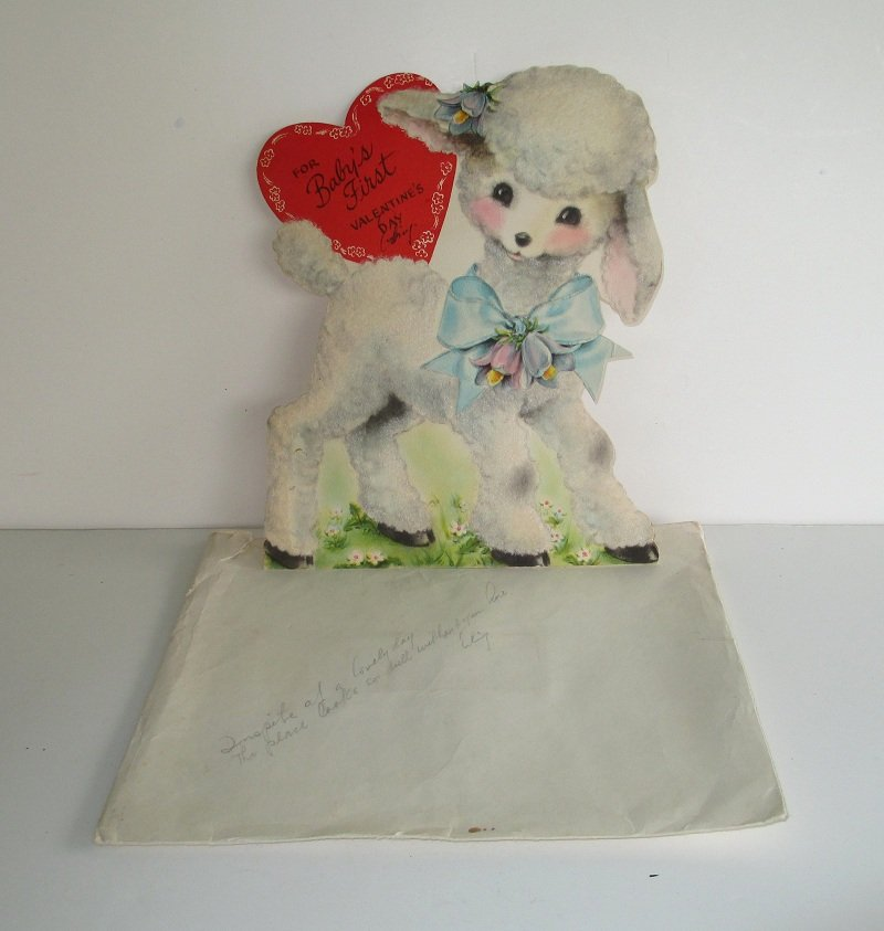Vintage Baby's First Valentines Card with Lamb. 1940s