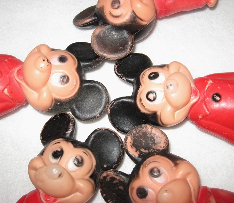 Vintage Disney Mickey Mouse, 5 Older Plastic Dolls 5.5in, 1950s - 1960s