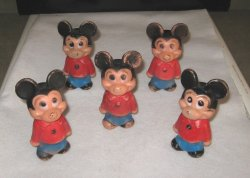 Disney Mickey Mouse, 5 Vintage Plastic Dolls 5.5in 1950s-1960s