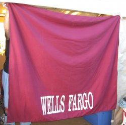 Wells Fargo Bank Tablecloth, 56 x 68 inches, Burgundy
