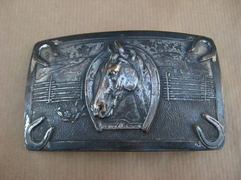 Vintage Horse Head Belt Buckle, M.C. Wentz Los Angeles. circa 1950s