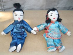 Chinese Cloth Dolls, Vintage 1950s, Pair, Man and Woman
