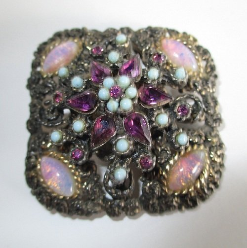 Antiqued Brooch, Purple Blue and Opal Colored Stones
