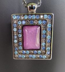 FI Multi Rhinestone Pendant, 32 Inch Chain, Purple Center
