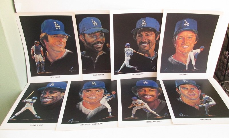 Dodgers, Union 76 Portraits, Lot of 8 Different Players, 1982. Originally by Nicholas Volpe