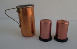 Copper Salt, Pepper, Measuring Cup, Vintage 1950s