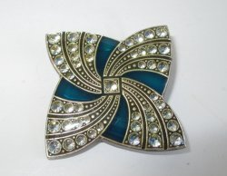 Catherine Popesco Swarovski Crystals Enamel Pin Brooch, Signed