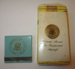 U.S. Presidential Aircraft Cigarettes and Matches, Johnson or Nixon