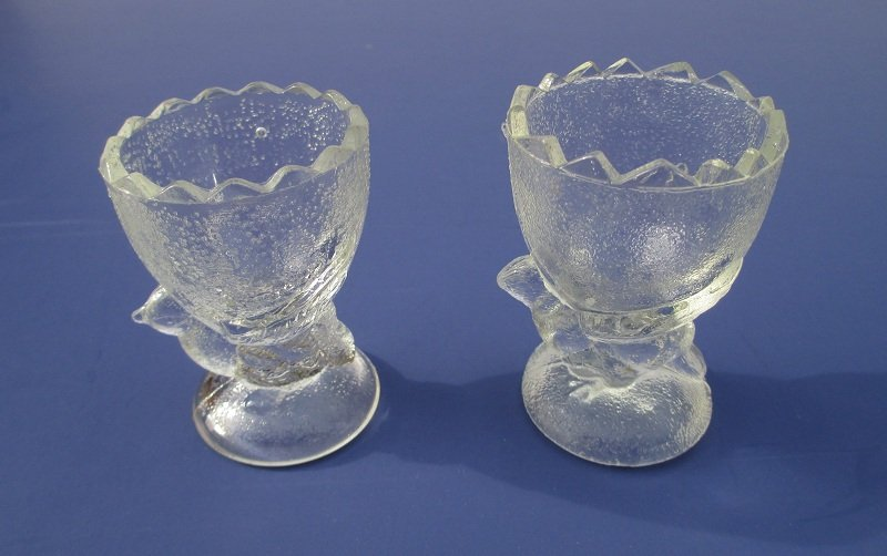 Pressed Glass Egg Cups Various Birds Set Of 6