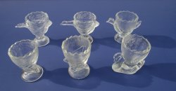 Pressed Glass Egg Cups, Various Birds, Set of 6