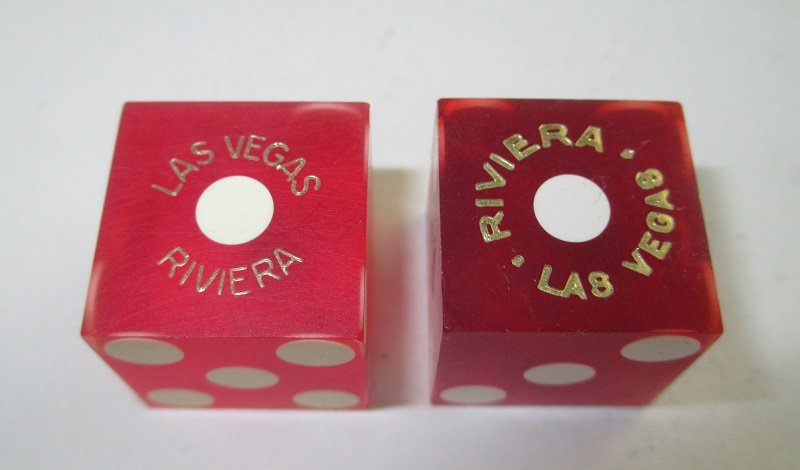 2 dice, both from Riviera Casino Las Vegas