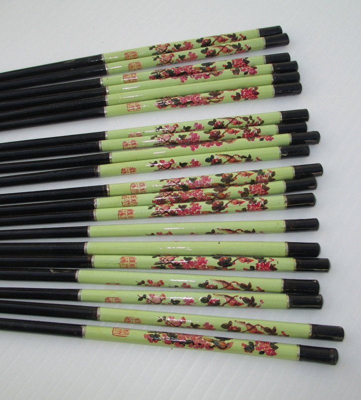 Chopsticks, 10 pair High Quality with Cardinal Bird Design