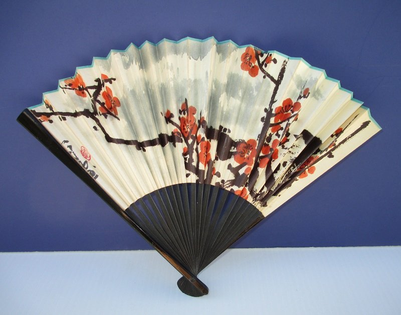 Chinese Hand Fan, Red Flowers, Asian Writing