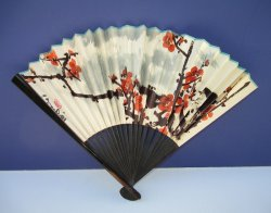 '.Chinese Hand Fan, Red Flowers.'