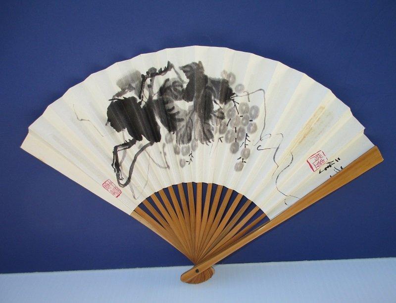 Chinese Hand Fan, Fruit Bunch, Asian Writing