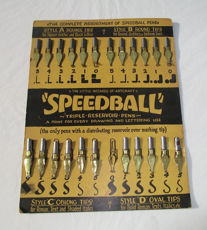Vintage speedball calligraphy nibs 23 on display card Speedball calligraphy nibs