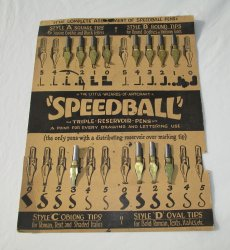 Vintage Speedball Calligraphy Nibs, 12 on Display Card