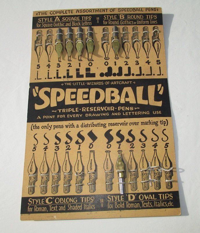 Vintage speedball calligraphy nibs 6 on display card Speedball calligraphy nibs