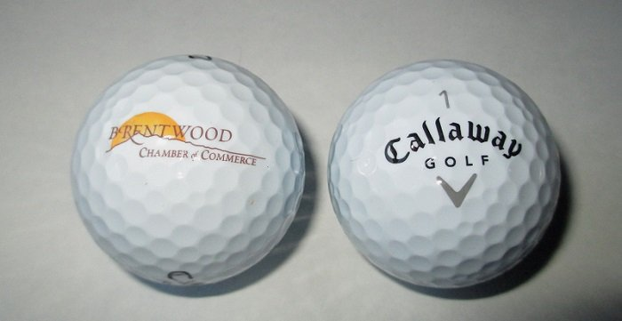 Callaway Warbird Golf Balls with Brentwood California logo.