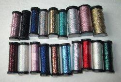 Lot of 19 Metallic Threads, Kreinik Balger