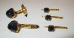 Swank Blueglass Tuxedo Studs Set, 1950s - 1960s