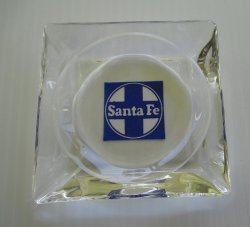 Santa Fe Railway Ashtray, Blue and White Logo