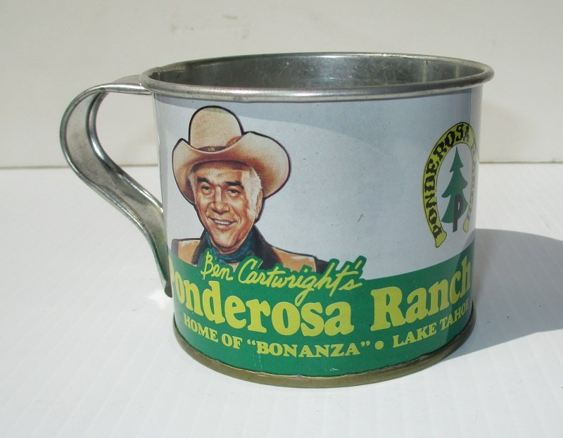 Ben Cartwright's Ponderosa Ranch Tin Cup, 1960s-1970s. Bonanza, Virginia City, Lake Tahoe Nevada. Features Ben Cartwright. The ranch is now closed.