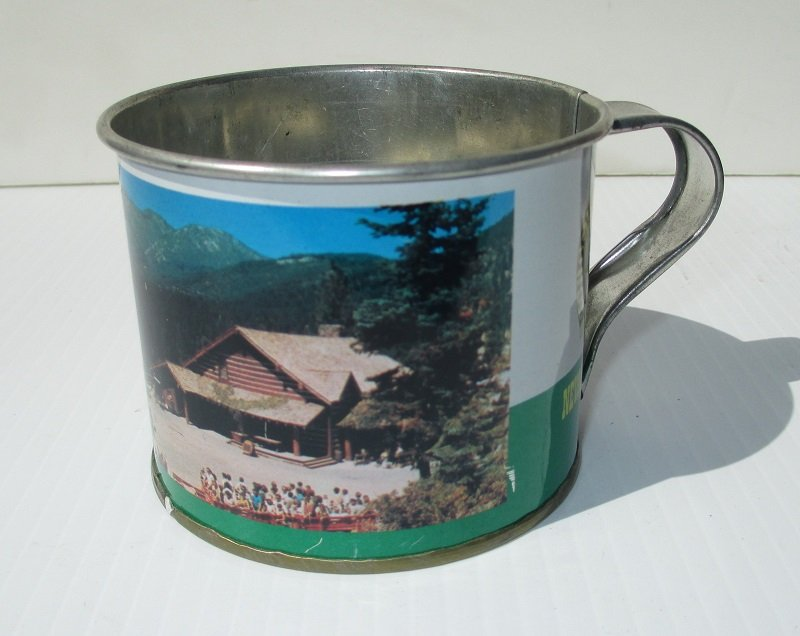 Ben Cartwright's Ponderosa Ranch Tin Cup, 1960s-1970s. Bonanza, Virginia City, Lake Tahoe Nevada.