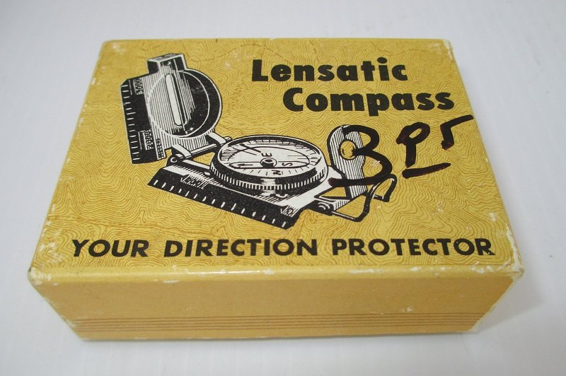 Vintage Lensatic Compass Model 823, looks to be in new condition. Original box and instruction sheet. Army green, unknown year.