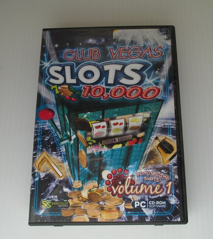 Club Las Vegas Slots. Volume 1. Over 10,000 variations of 3 and 5 wheel slot machines with bonus rounds. PC Computer game that runs on Windows 7, Vista, XP. Unopened, never played.