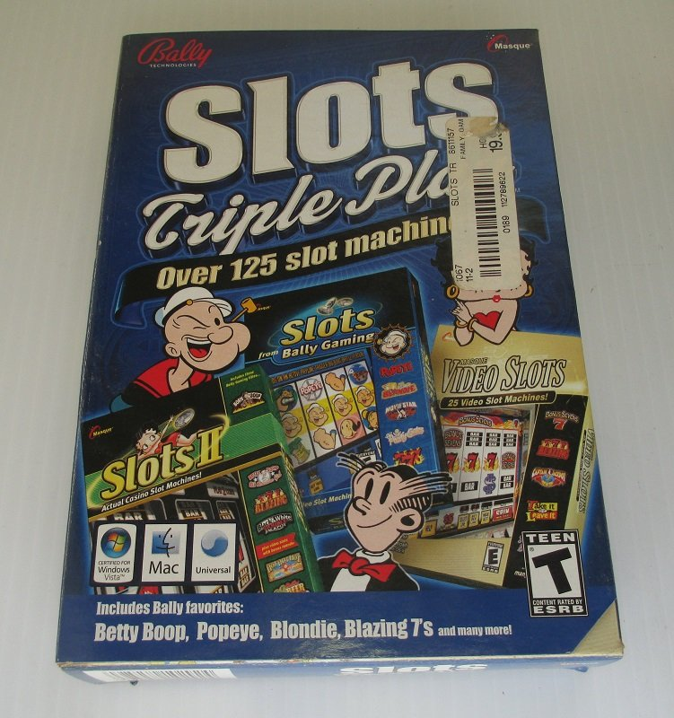 Slots Triple Play PC Computer game. Over 125 video slots games including Popeye, Betty Boop, Blondie, Blazing 7's, many with extra bonus rounds. Windows Vista, XP, 2000, ME, 98. Mac.