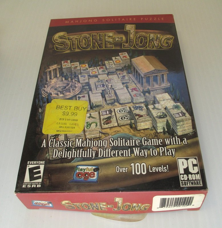Stone Jong, Mahjong Solitaire PC computer puzzle game with over 100 levels. 2 modes, Challenge and Arcade. Windows Vista, XP, 2000, ME, 98
