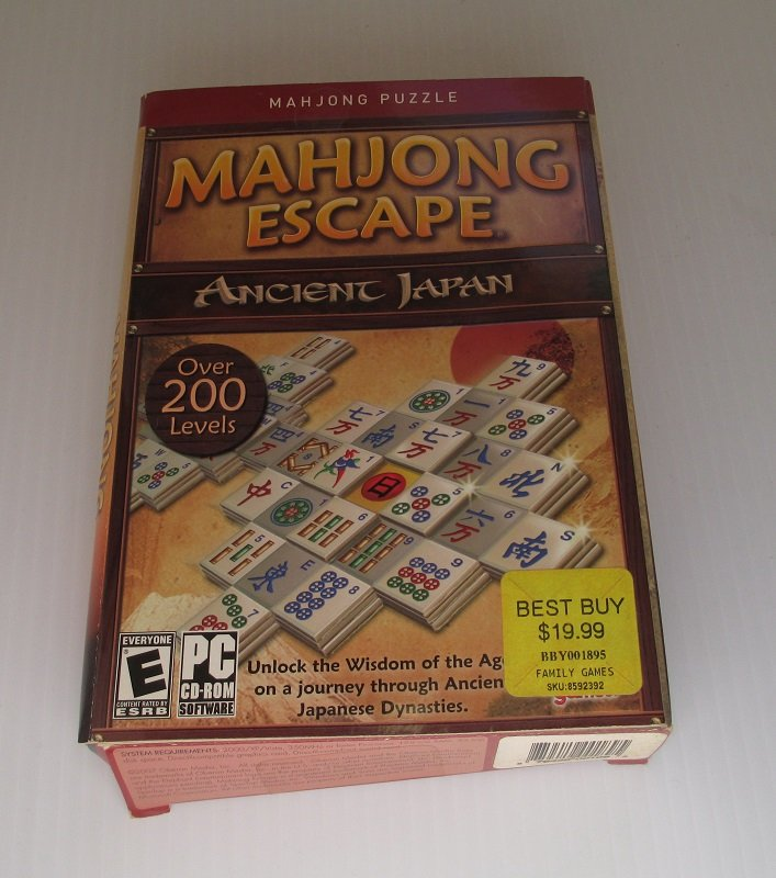 Mahjong Escape PC computer puzzle game with over 200 levels in 2 game modes. Ancient Japan themes and music.  Windows Vista, XP, 2000