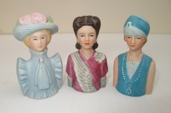 Avon American Fashion Thimbles, 3 Different Statues, 1980s