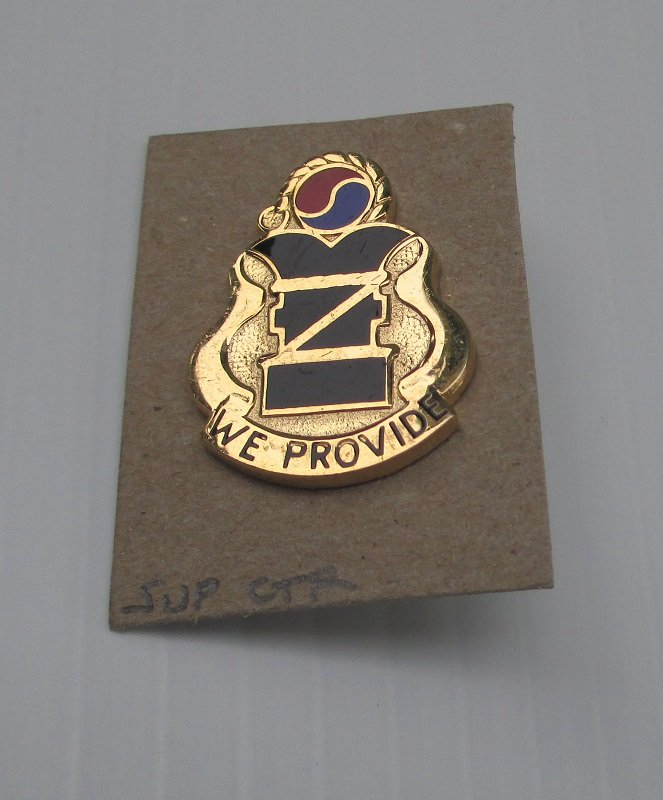 U.S. Army Support Center DUI DI insignia metal pin, 'We Provide'. Marked D22 Made in U.S.A.. Worn on Army Uniforms and caps. Excellent condition. Estate find.