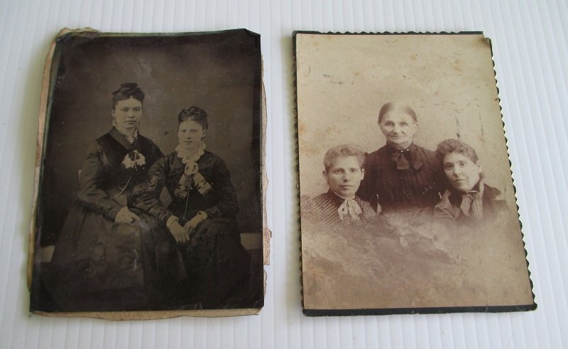 2 photos, one cabinet photo and one tintype of 3 women named Cowles. Related names of Goy Samuels Bickel. No location mentioned. Mid to late 1800s time frame.