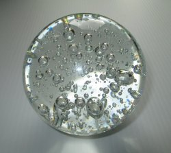 Clear Glass Crystal Sphere Orb, 4 inch, Many Air Bubbles