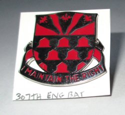 307th Engineer Battalion Insignia Pin, U.S. Army