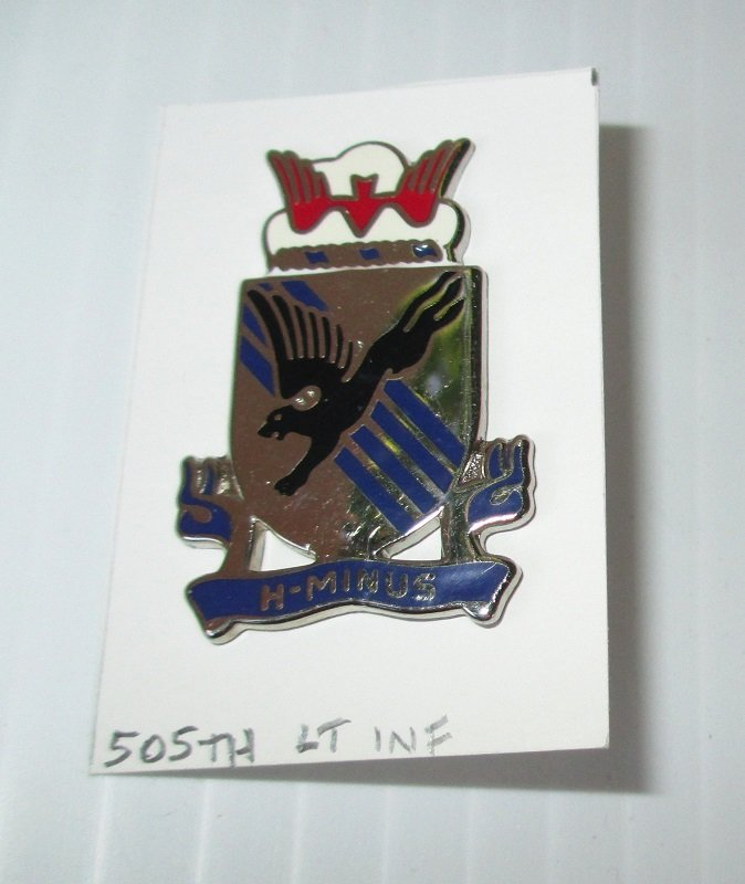 505th U.S. Army Light Infantry insignia metal pin. H-Minus motto. 0-23 Denmark. Excellent condition. Estate find. Worn on Army Uniforms and caps.